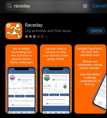 Image of Raceday app in the app store.
